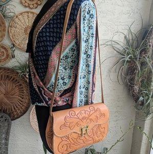 Vintage 70's boho tooled shoulder bag preloved